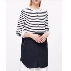 COS Navy Striped Dress Tunic With Silk Skirt